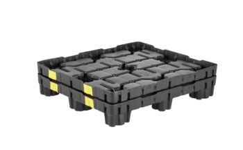 Nestable plastic pallets help save space and money.